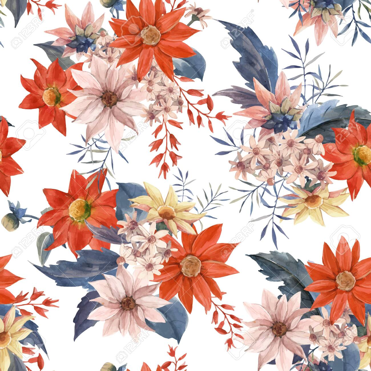 Beautiful vector seamless pattern with watercolor hand drawn floral bouquet composition flowers - 131142827