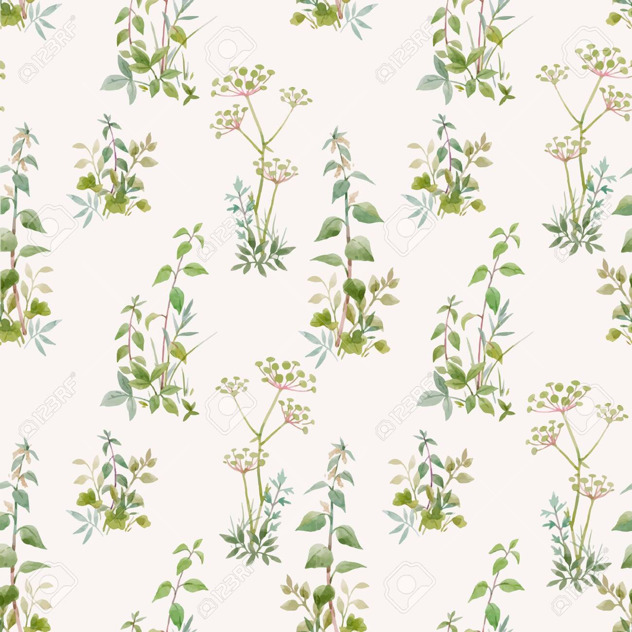 Beautiful vector seamless floral pattern with watercolor forest plants. Stock illustration. - 153339502