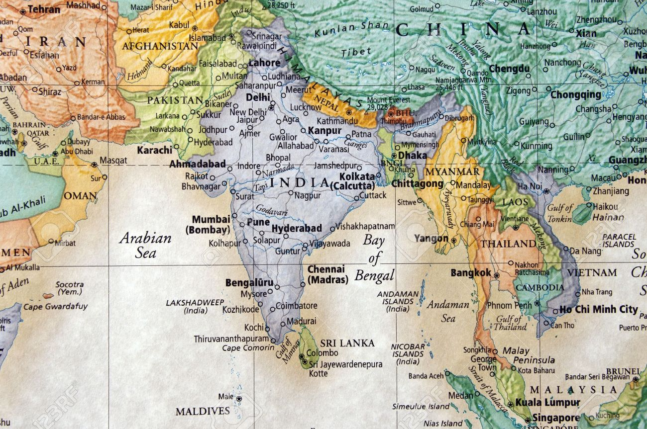Map Of India And Surrounding Countries Stock Photo, Picture And ...