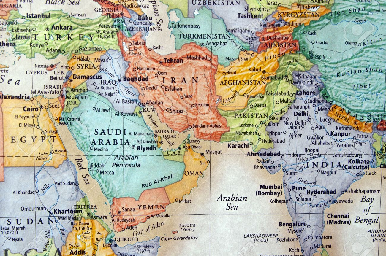 map of iran and the middle east stock photo 15190099