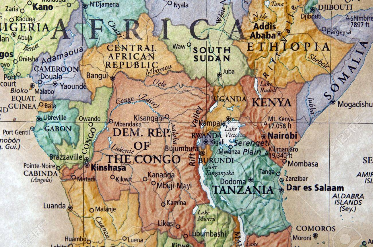 Map Ok Kenya And Surrounding African Countries Stock Photo - Map ok