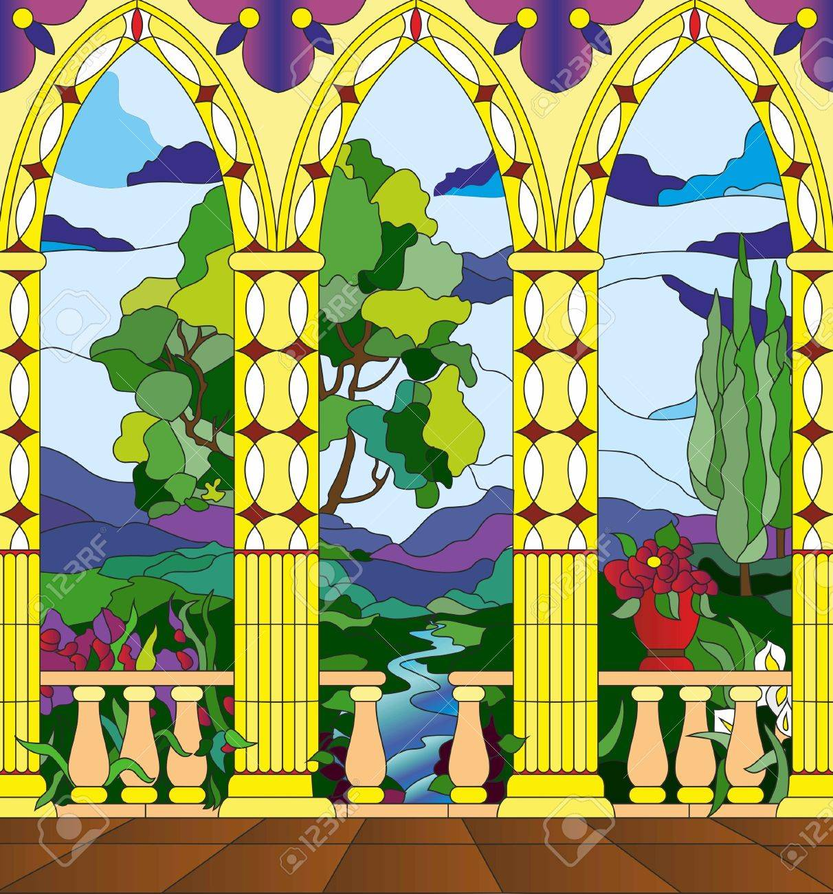 stained glass window - the view from the balcony of the castle across the valley Stock Vector - 14225936
