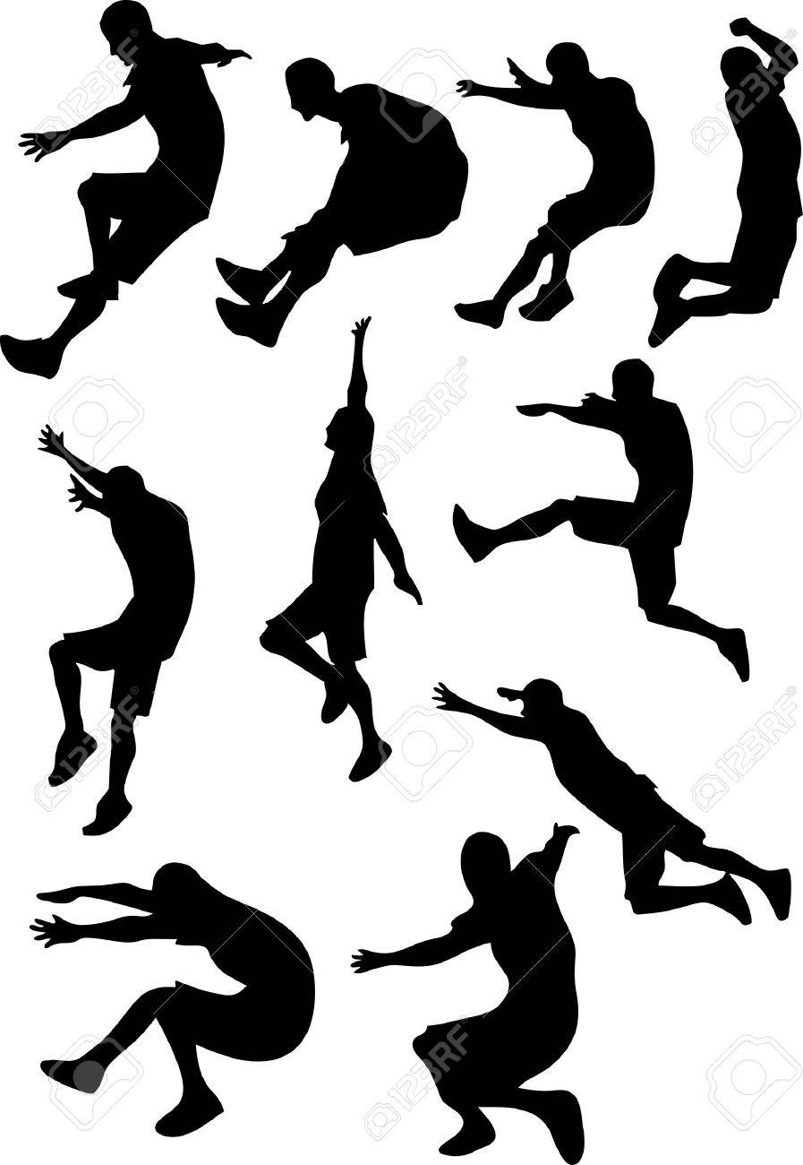 A Different style of man jumping and doing sport Stock Vector - 2774835