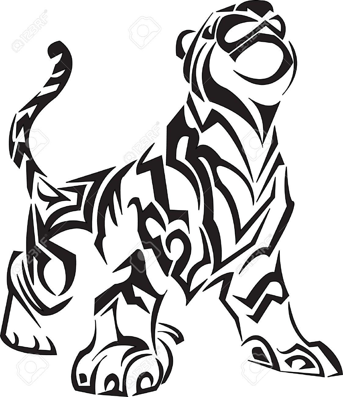 Tribal Tiger Tattoo Stock Vector - 5260755