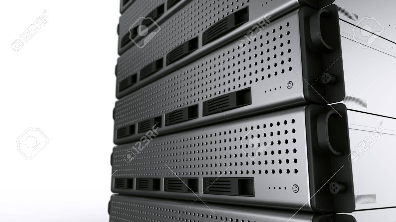 3d rendering of multiple rack servers on white background. Stock Photo - 3276849