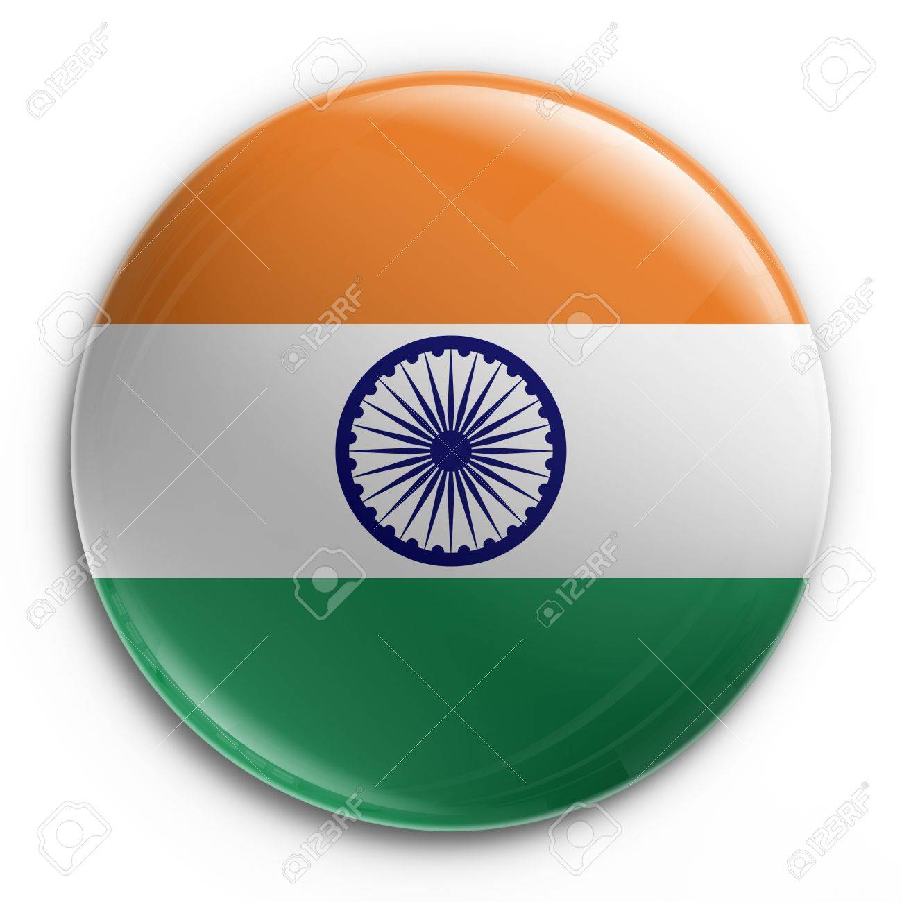 3d rendering of a badge with the Indian flag Stock Photo - 3279341