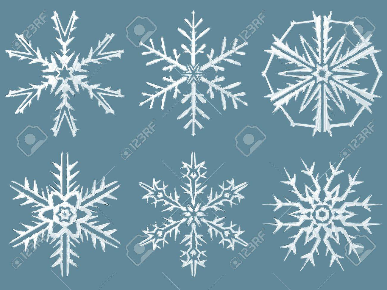 3d rendering of snowflakes all flakes have a crystal material