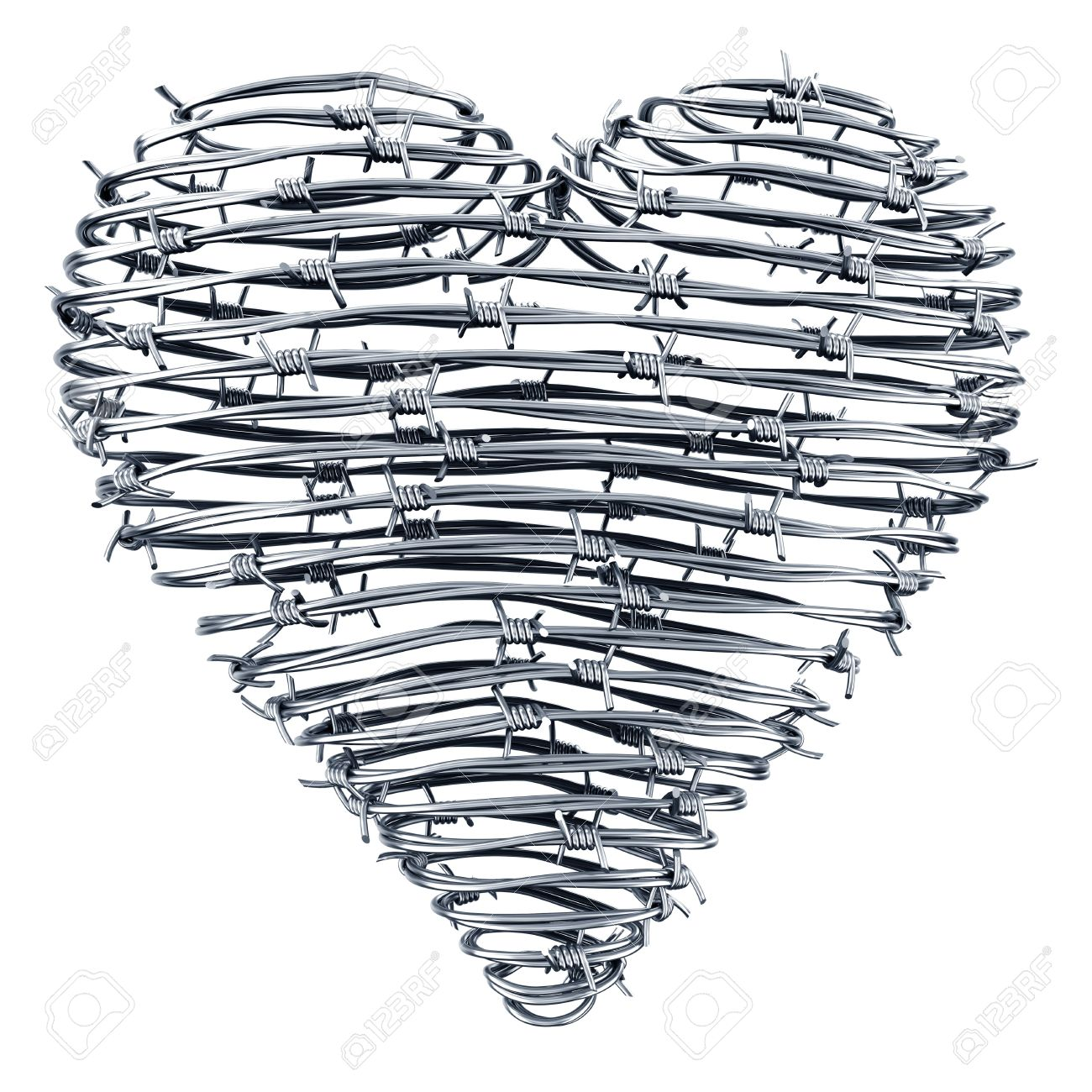 3D Rendering Of A Heart Made Out Of Barbed Wires Stock Photo ...