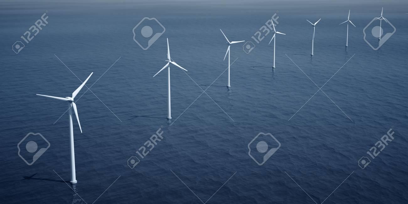 3d rendering of windturbines on the ocean Stock Photo - 4894715
