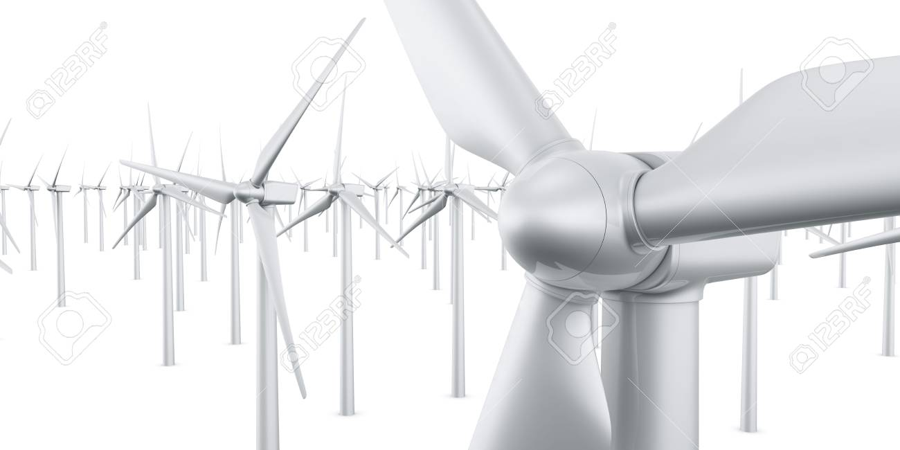 3d rendering of multiple wind turbines in a wite studio setup Stock Photo - 4988584