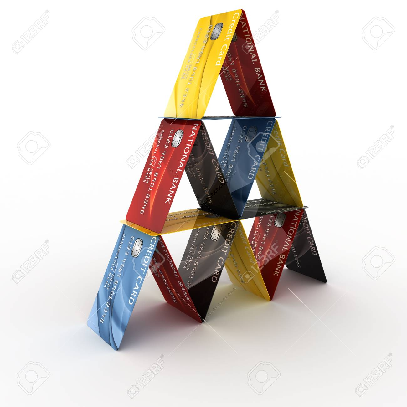 3d rendering of credit cards arranged in a pyramid Stock Photo - 4988595
