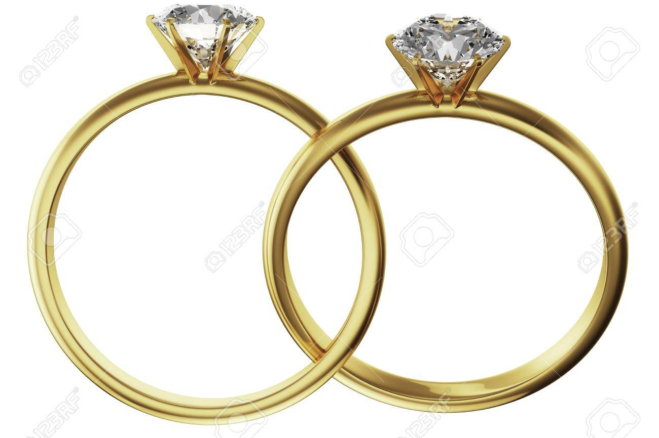 3d Rendering Of Two Gold Diamond Rings Intertwined Stock Photo