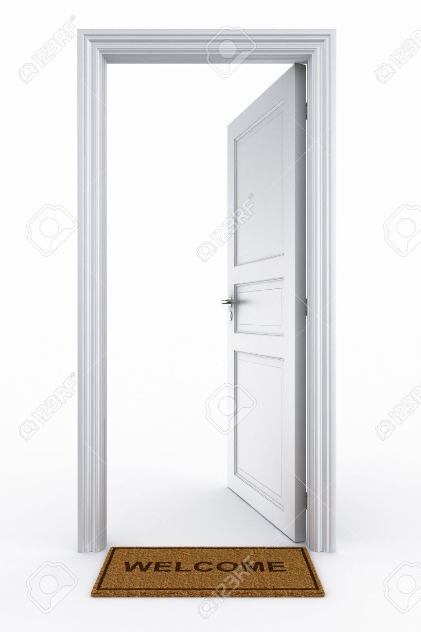 open door welcome wide open 123rfcom 3d rendering of an open door with welcome mat stock photo 5257321 rendering of an open door with welcome mat photo picture