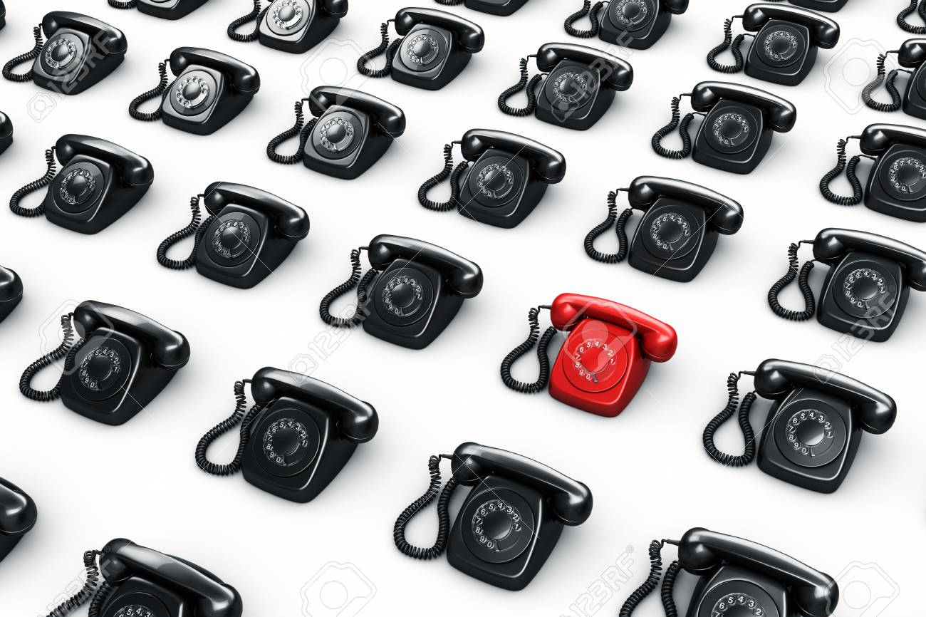 3d rendering of an old vintage rotary phone in red surrounded by black phones Stock Photo - 6186540