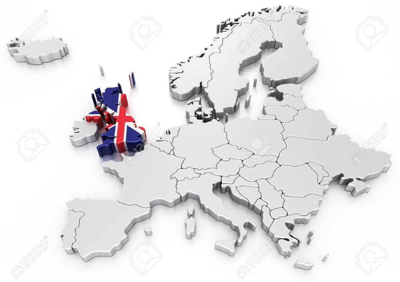D Rendering Of A Map Of Europe With United Kingdom Selected Stock - United kingdom europe map