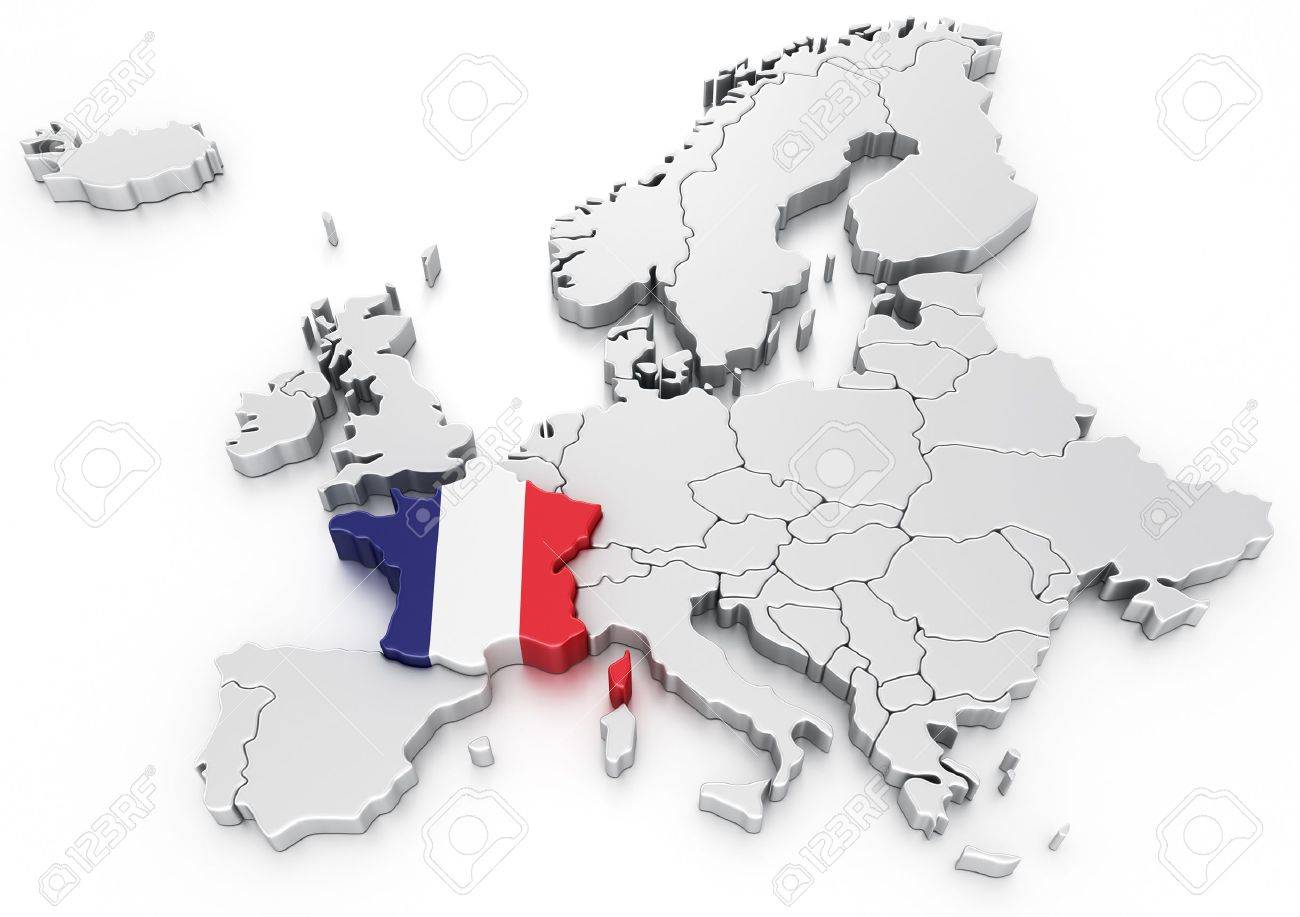 Map Of Europe France.3d Rendering Of A Map Of Europe With France Selected