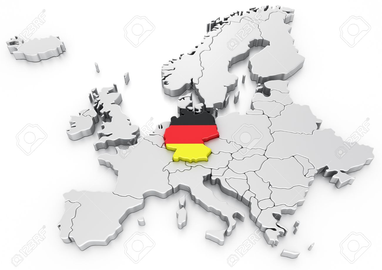 Germany Map Of Europe.3d Rendering Of A Map Of Europe With Germany Selected Stock Photo