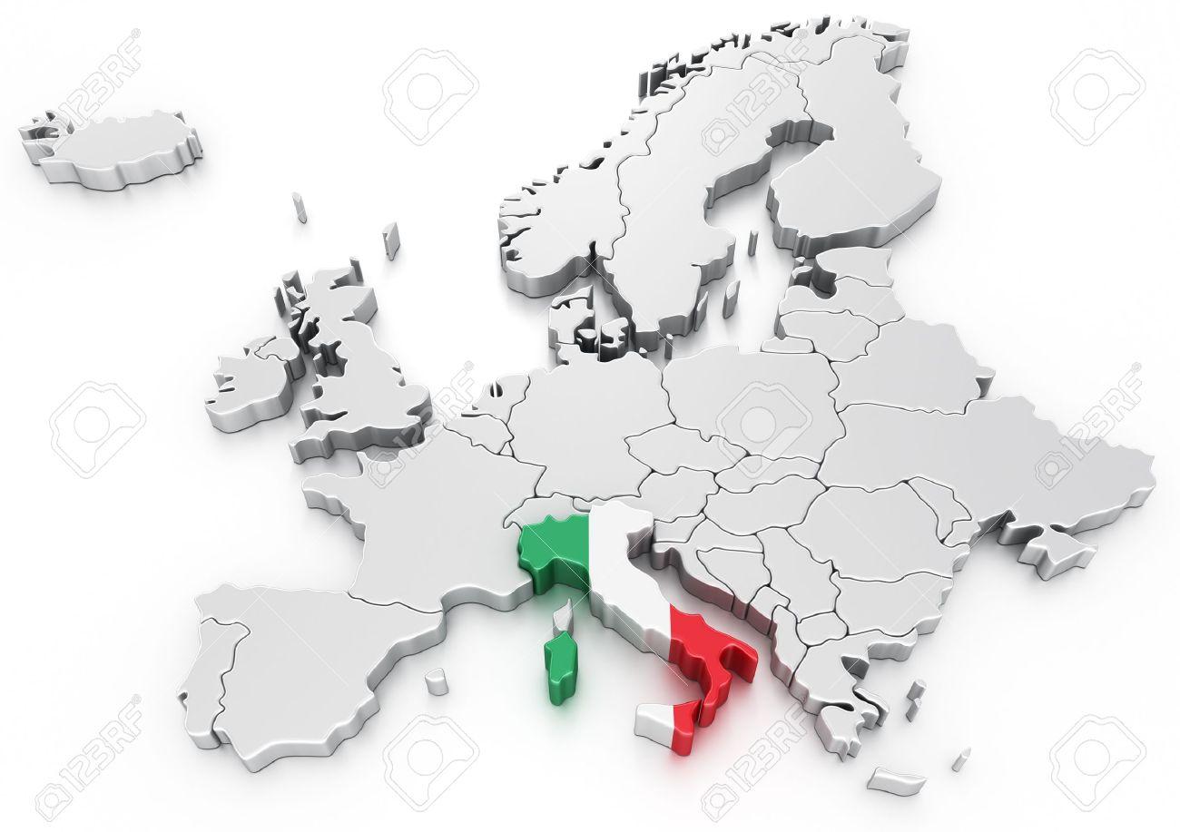 Carte Italie Europe.Rendu 3d D Une Carte De L Europe Avec L Italie Selectionnee