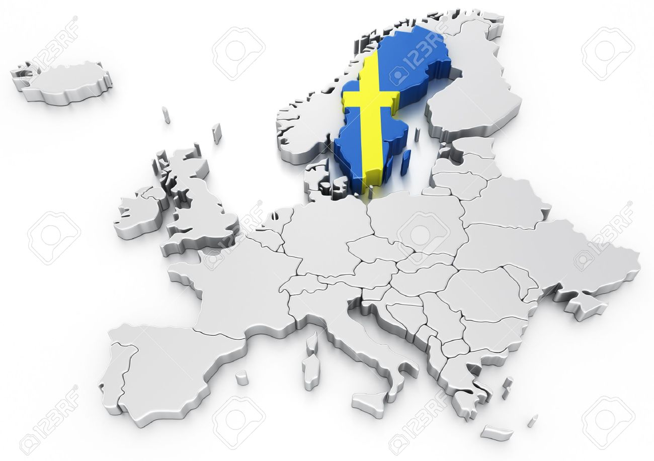 D Rendering Of A Map Of Europe With Sweden Selected Stock Photo - Sweden map of europe