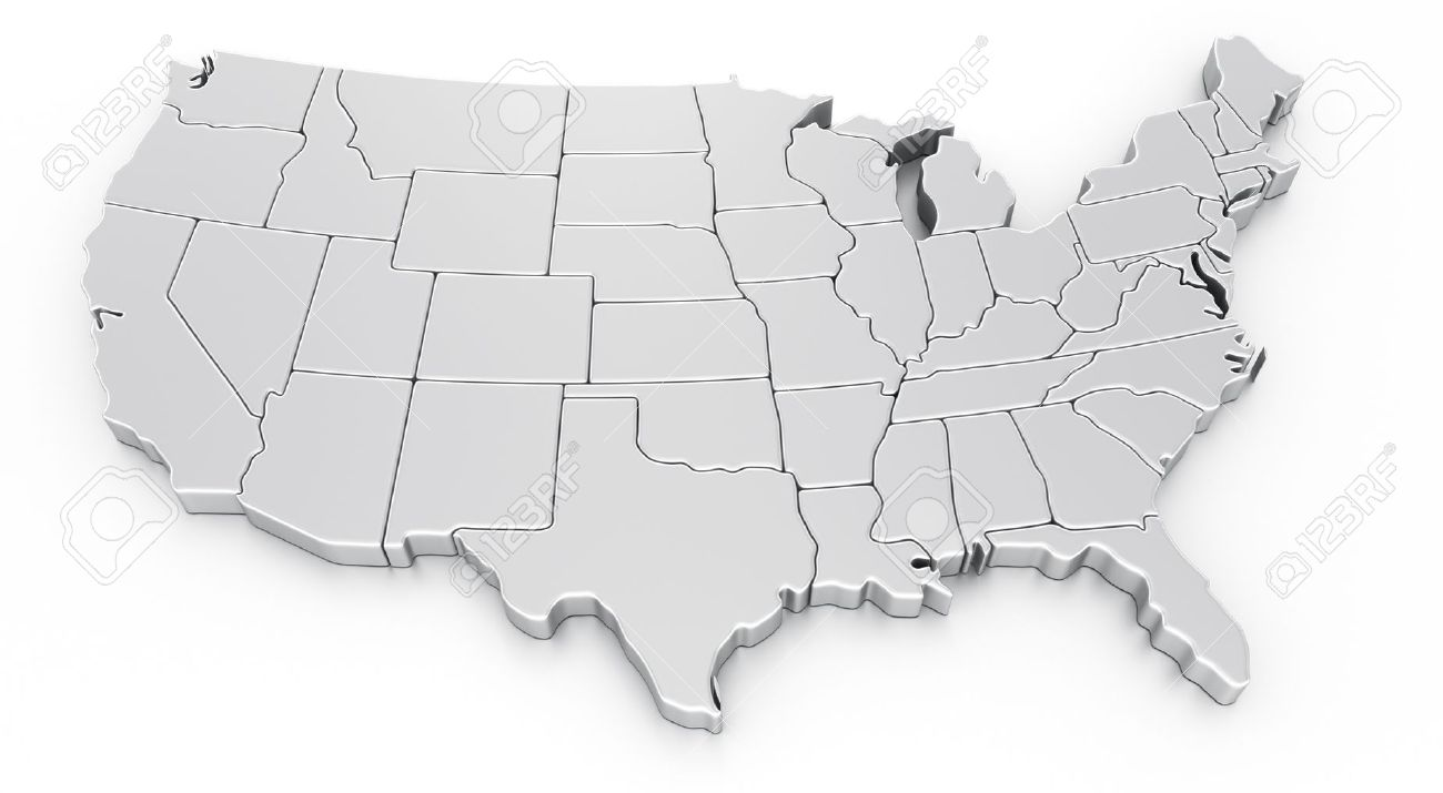 3d Rendering Of A Map Of USA Stock Photo, Picture And Royalty Free