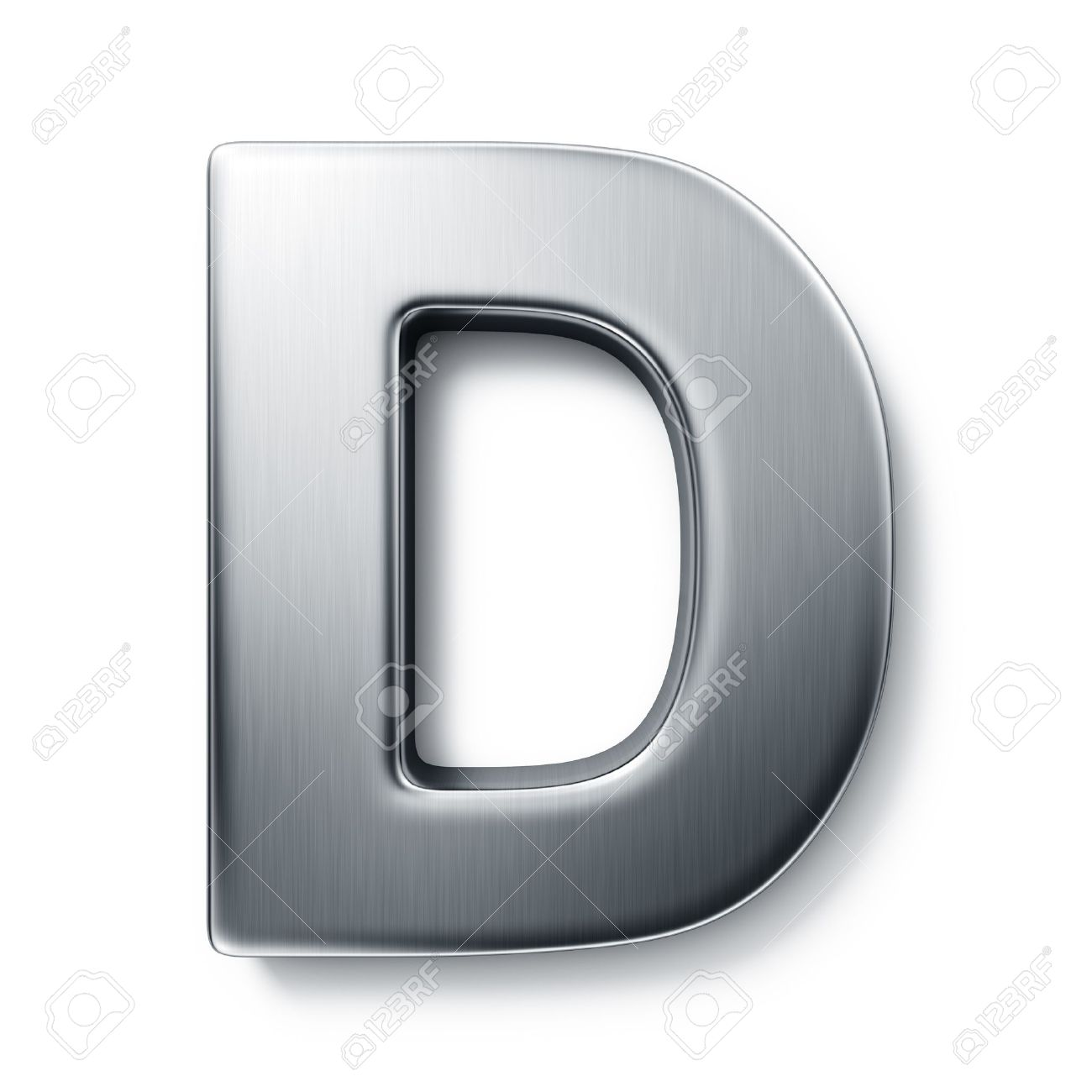 D background images - 3d Rendering Of The Letter D In Brushed Metal On A White Isolated Background Stock