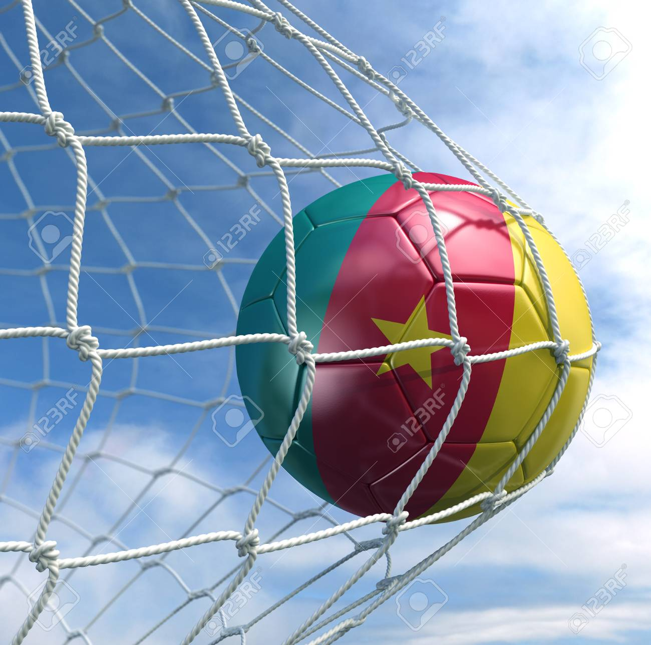 3d rendering of a Cameroonian soccer ball in a net Stock Photo - 7827058