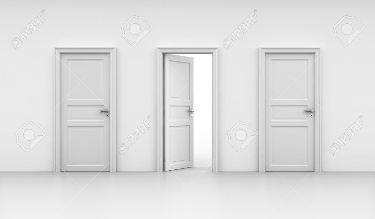 Open door closed door - 3d Rendering Of Three Doors One Open And Two Closed Stock Photo 7827003