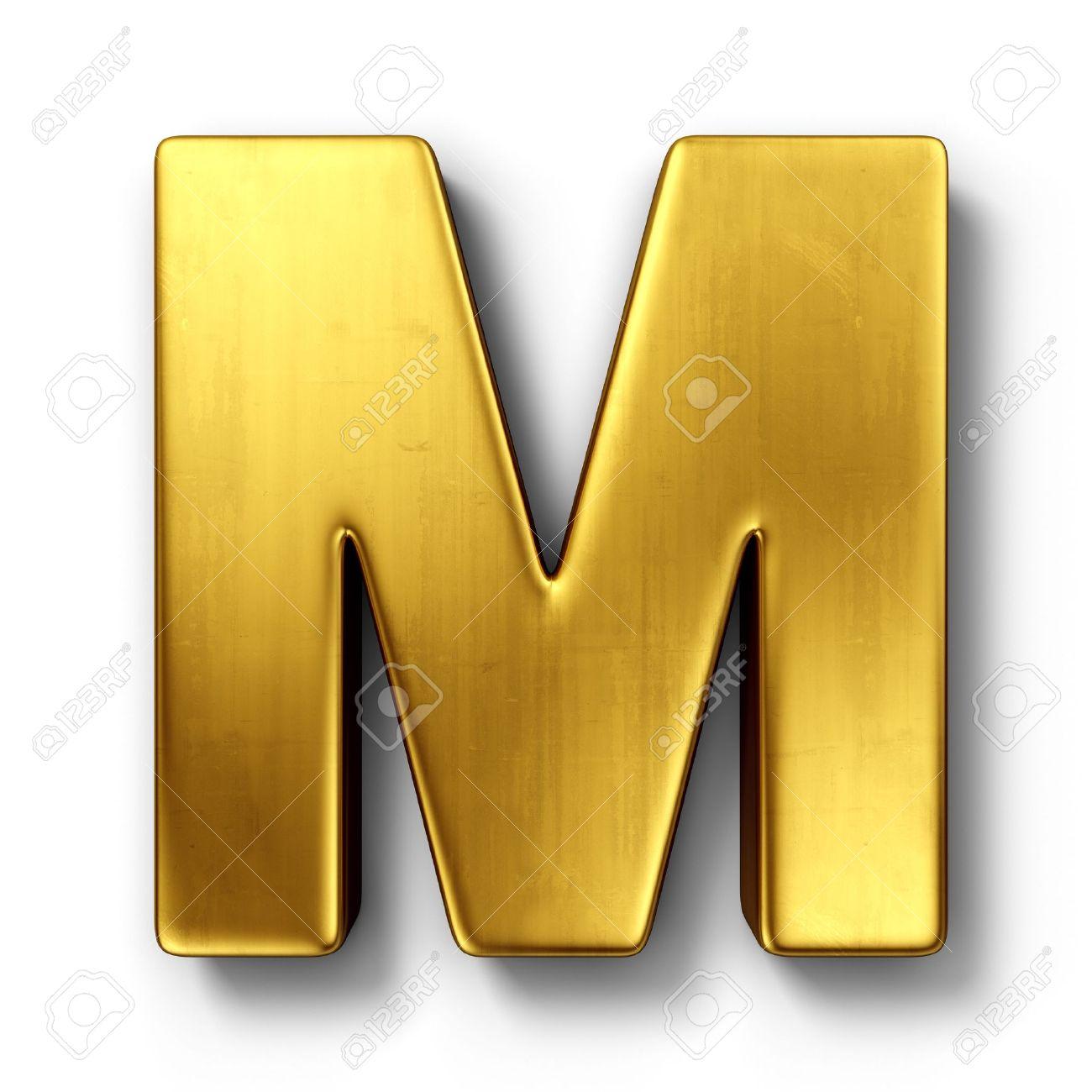 que buen look elegir original estilo de moda Representación 3D de la letra M en metal oro sobre un fondo blanco aislado  de fondo.