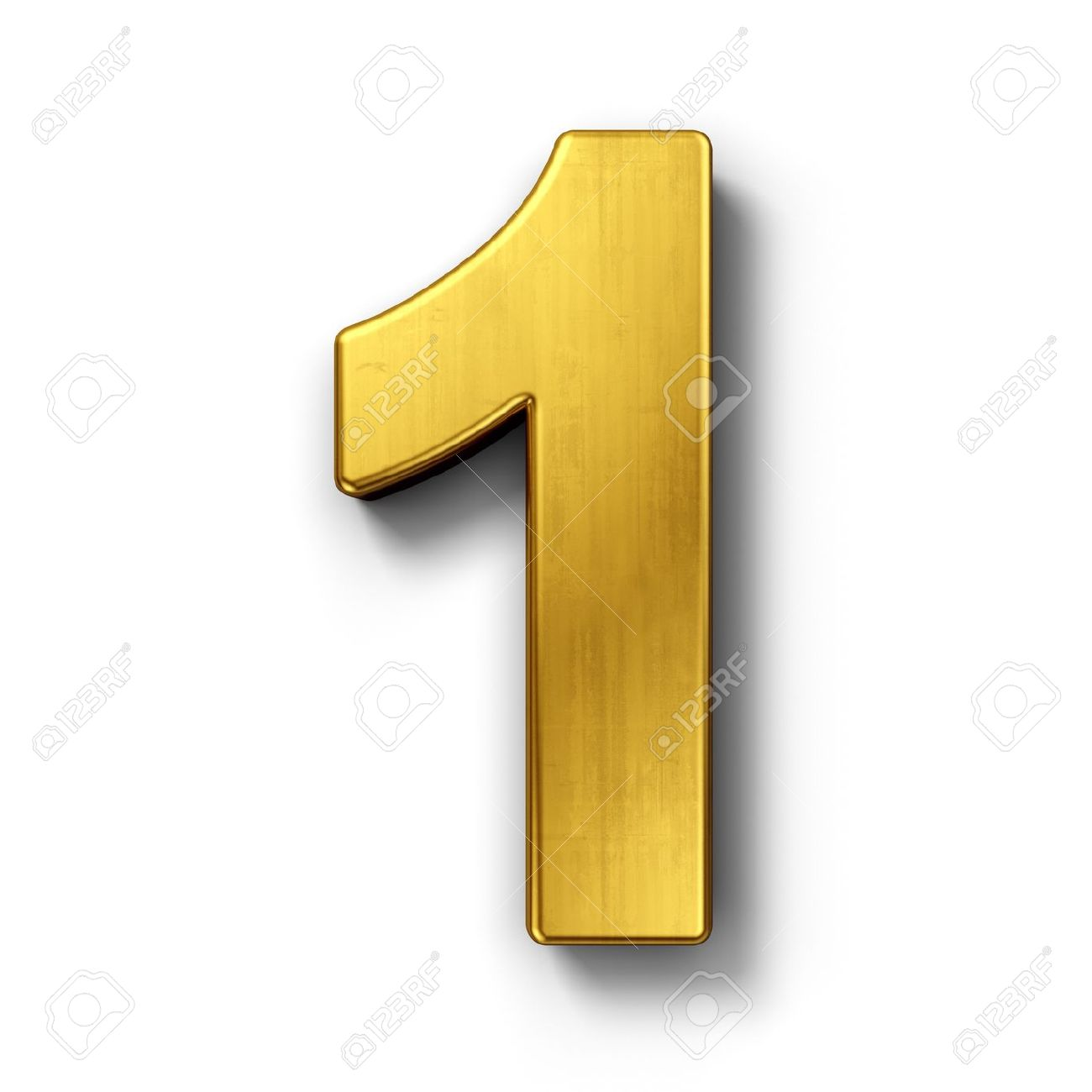 3d rendering of the number 1 in gold metal on a white isolated background. - 7826983