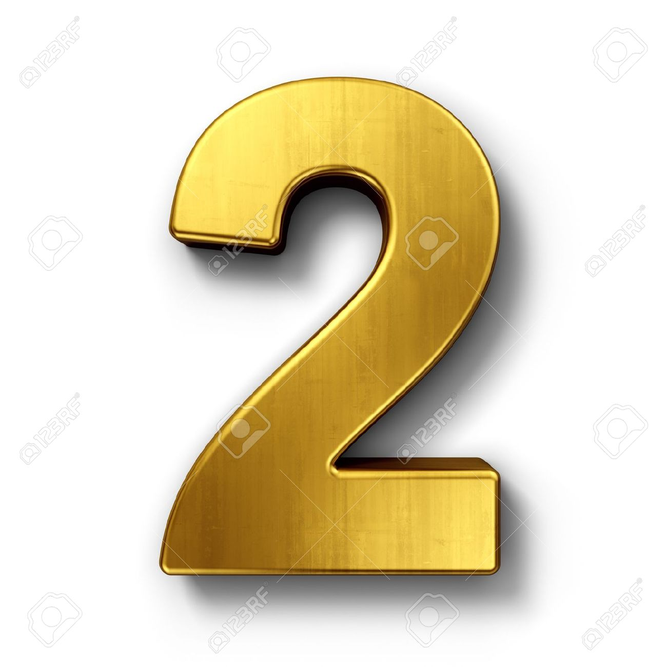 3d rendering of the number 2 in gold metal on a white isolated background.  Stock