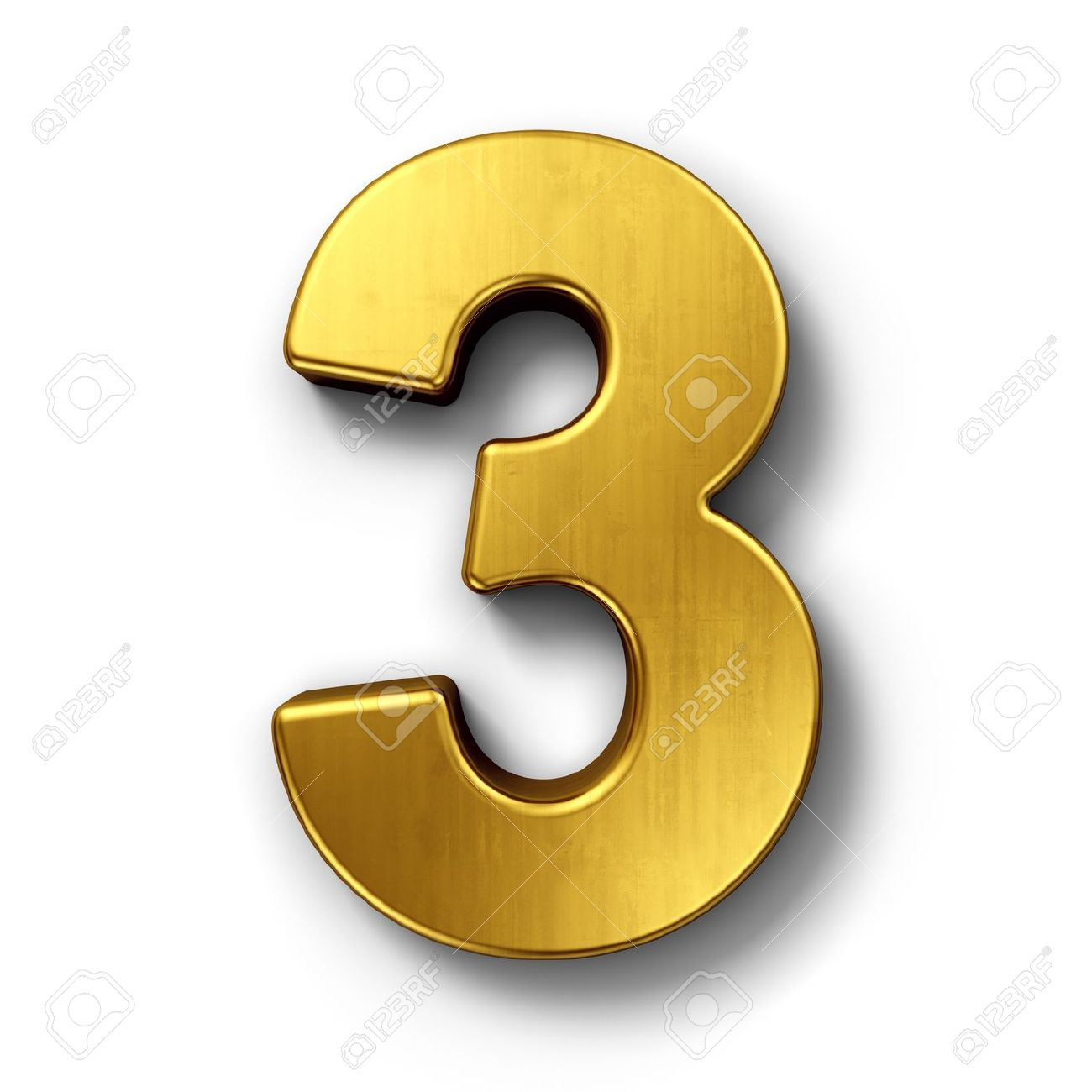 3d rendering of the number 3 in gold metal on a white isolated background. - 7826996