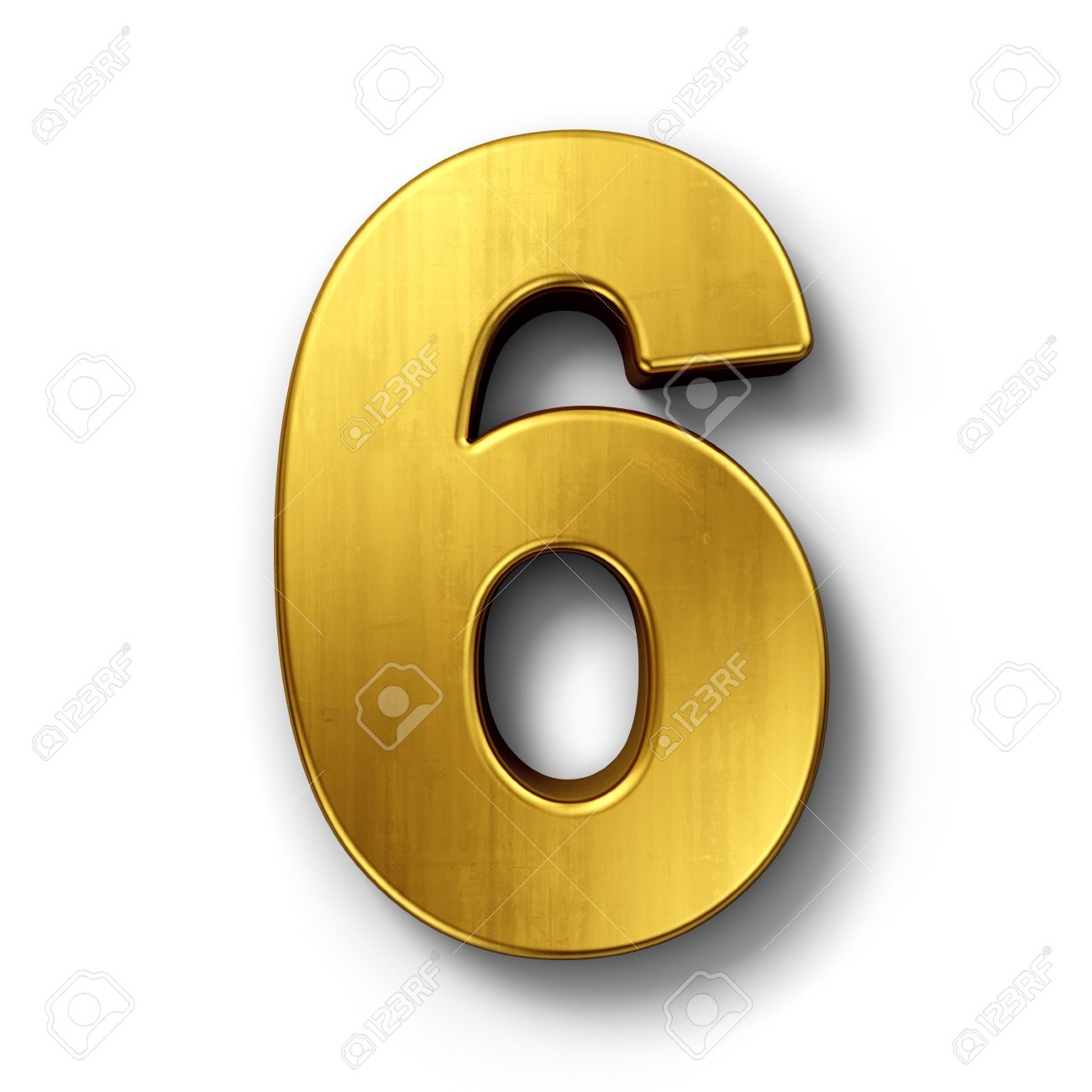 3d rendering of the number 6 in gold metal on a white isolated background stock