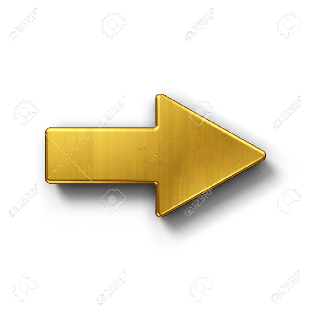 3d rendering of an arrow symbol in gold on a white isolated background. Stock Photo - 8293962