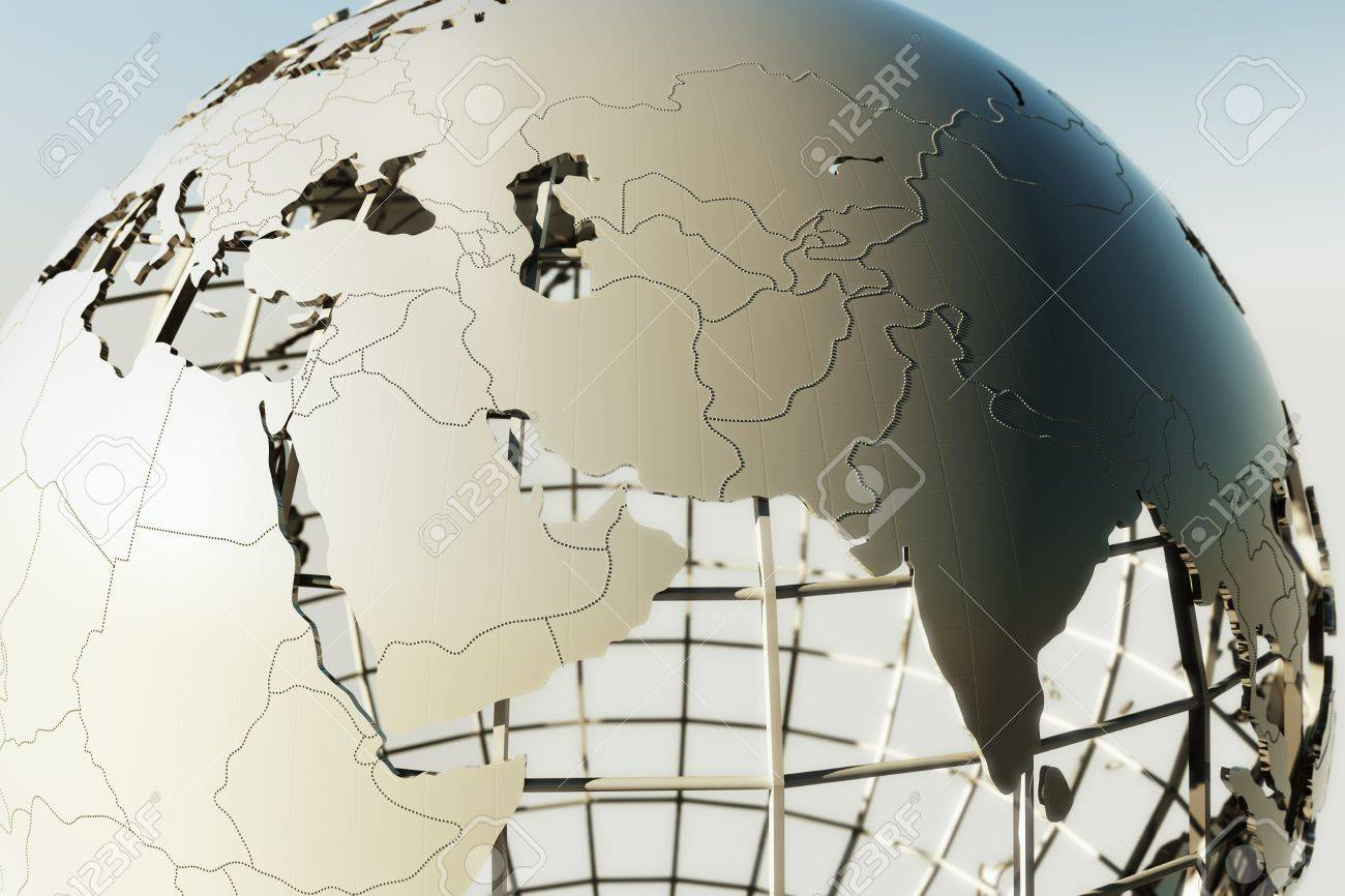 3d rendering of a globe showing the Middle east Stock Photo - 9136619