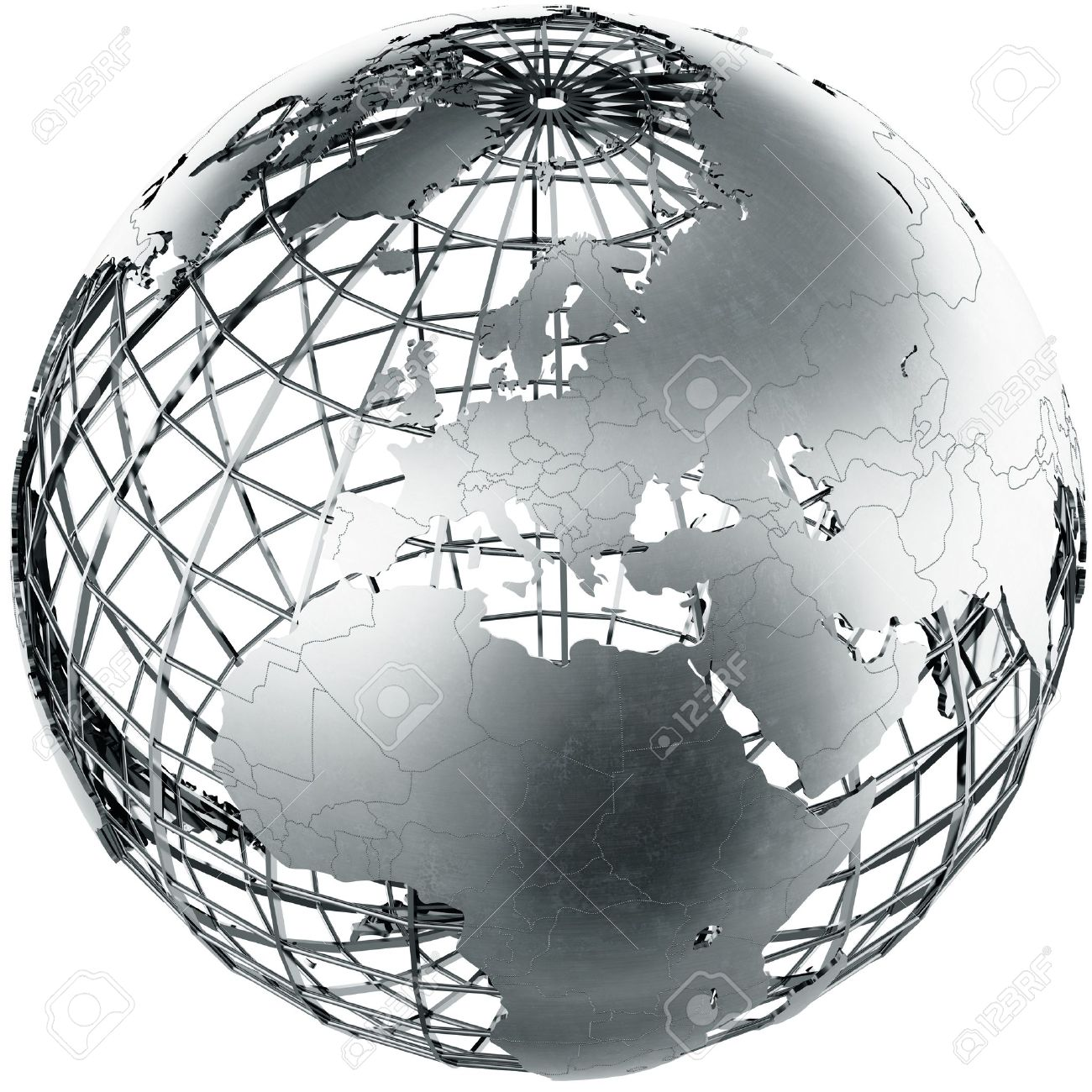3d rendering of a metal globe showing Europe Stock Photo - 9136628