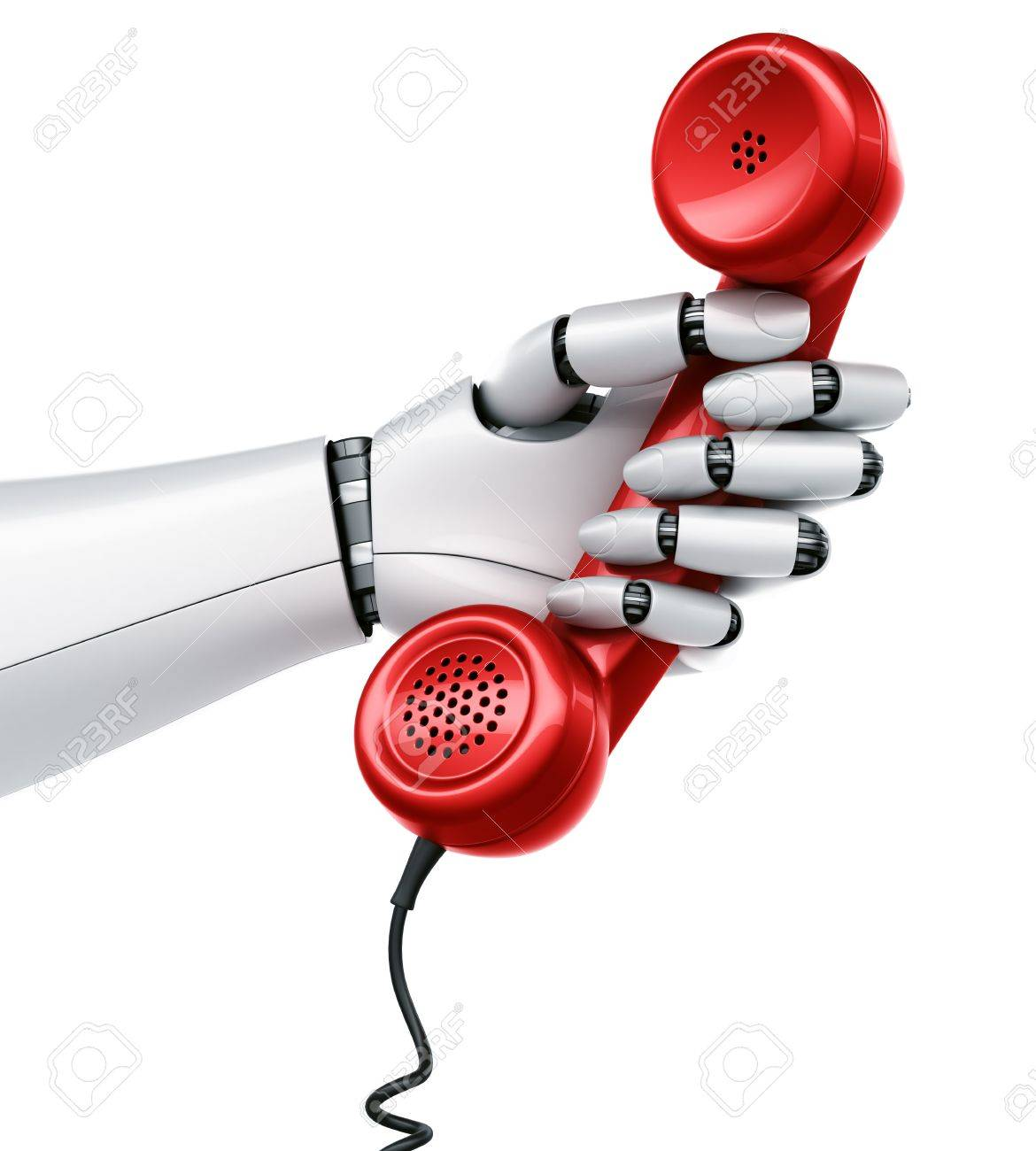 3d rendering of a robot hand holding a red telephone Stock Photo - 9136592