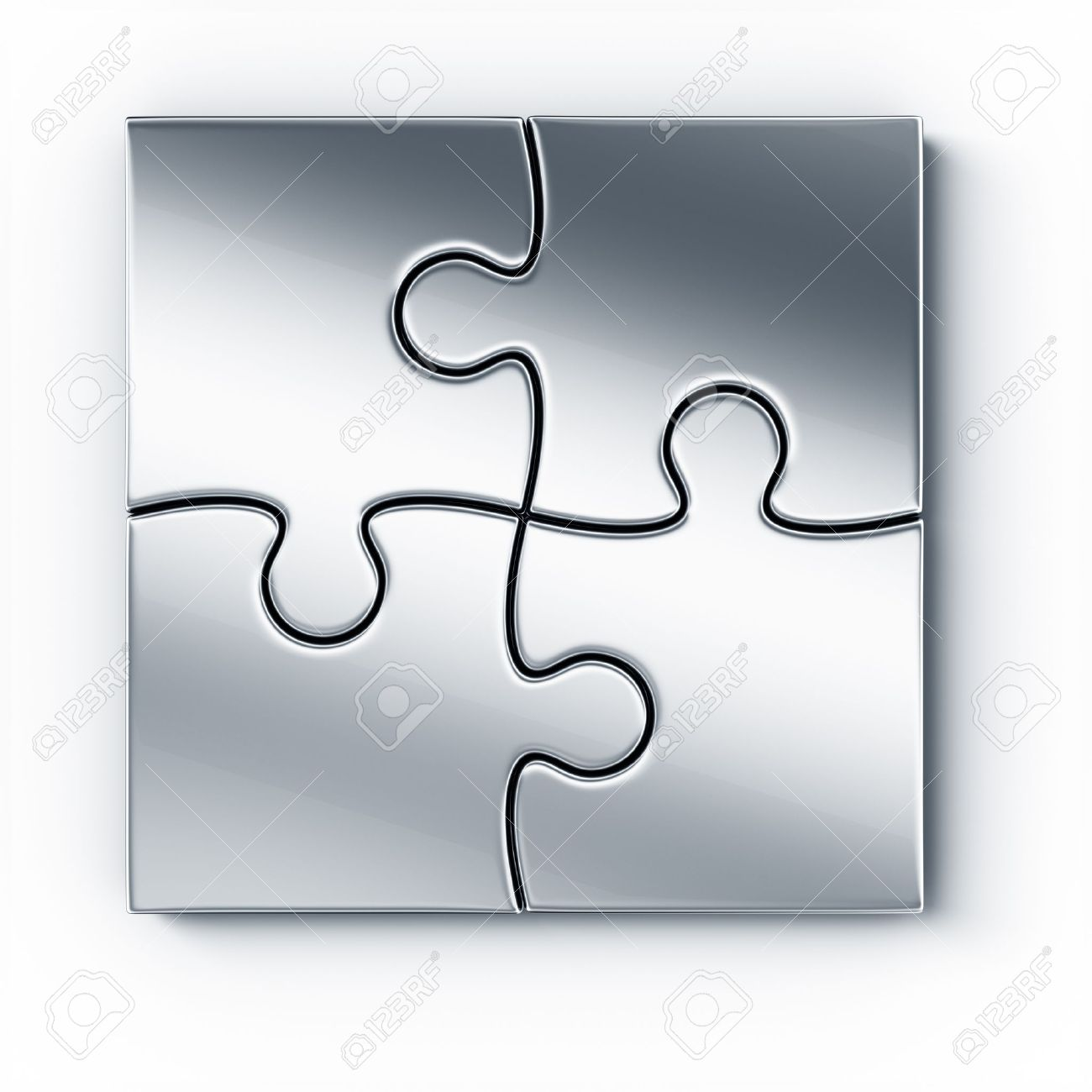 Metal puzzle pieces on a white floor seen from the top Stock Photo - 10846158