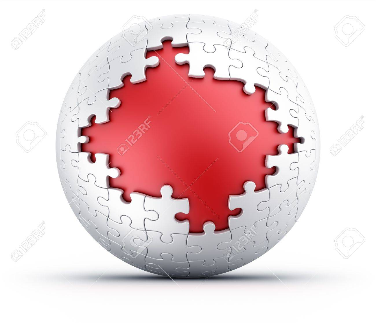 3d rendering of a spherical puzzle with pieces missing Stock Photo - 11503861
