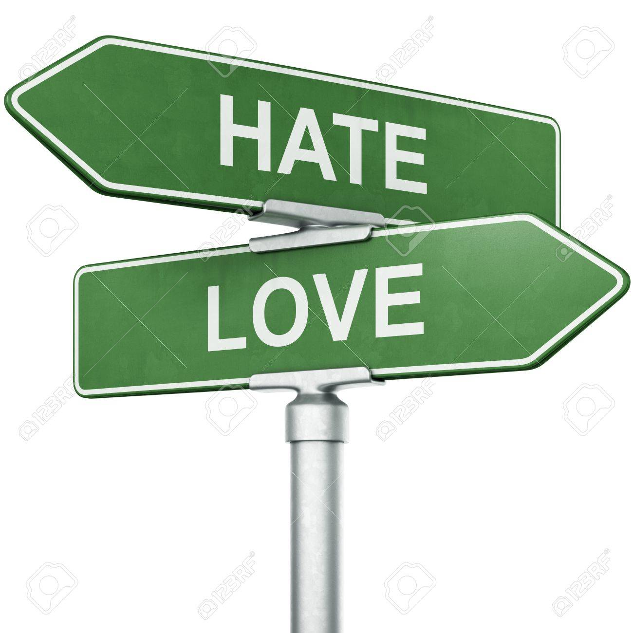 d rendering of signs love and hate pointing in opposite 3d rendering of signs