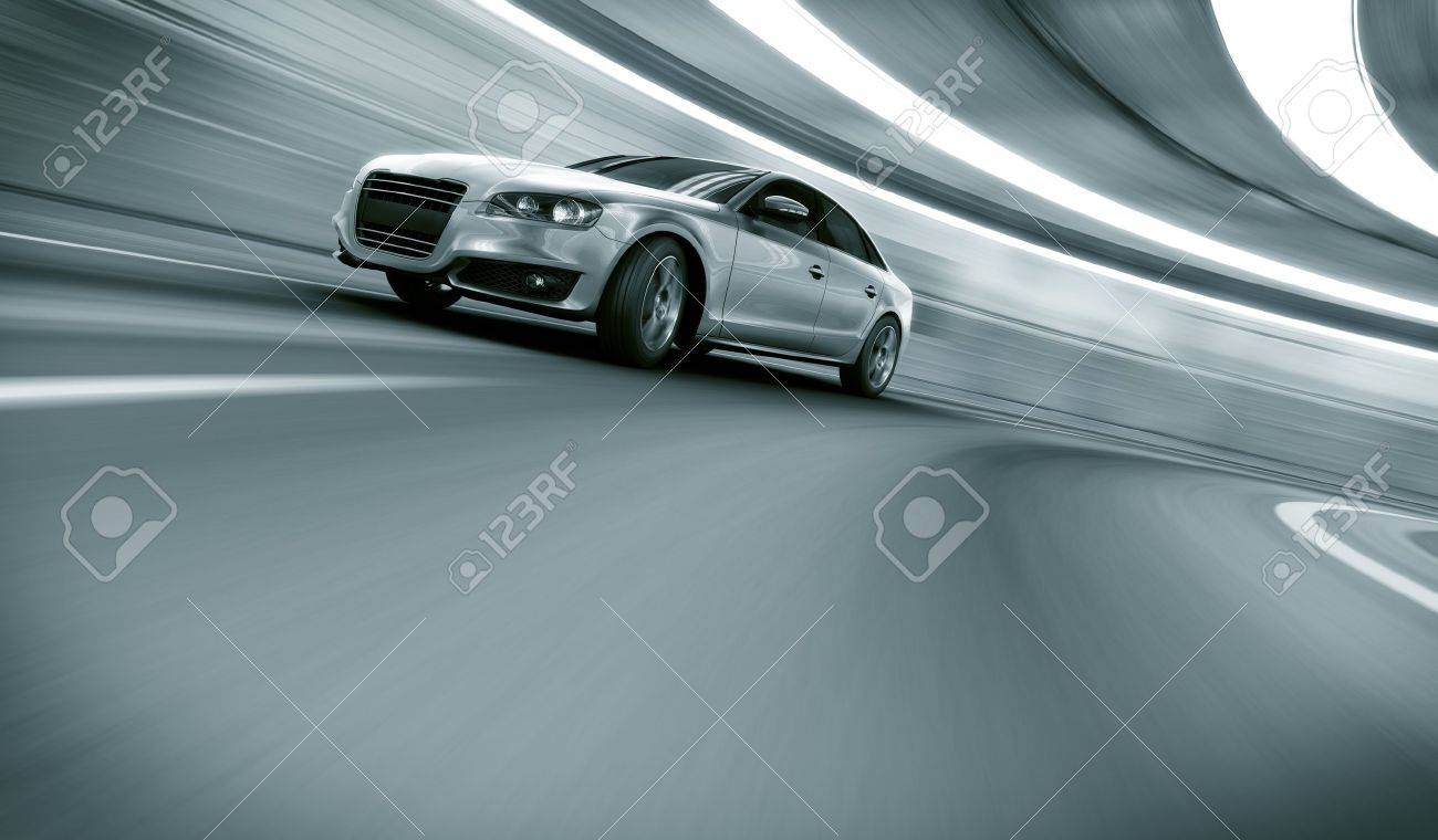 Design my car - 3d Rendering Of A Brandless Generic Car Of My Own Design In A Tunnel With Heavy Motion Blur