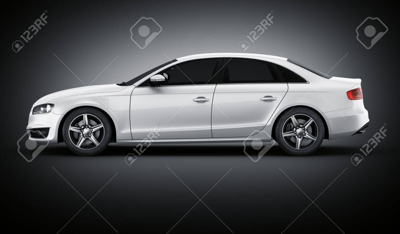 3D-Rendering Eines Brandless Generischen Weißen Auto Meiner Eigenen ...