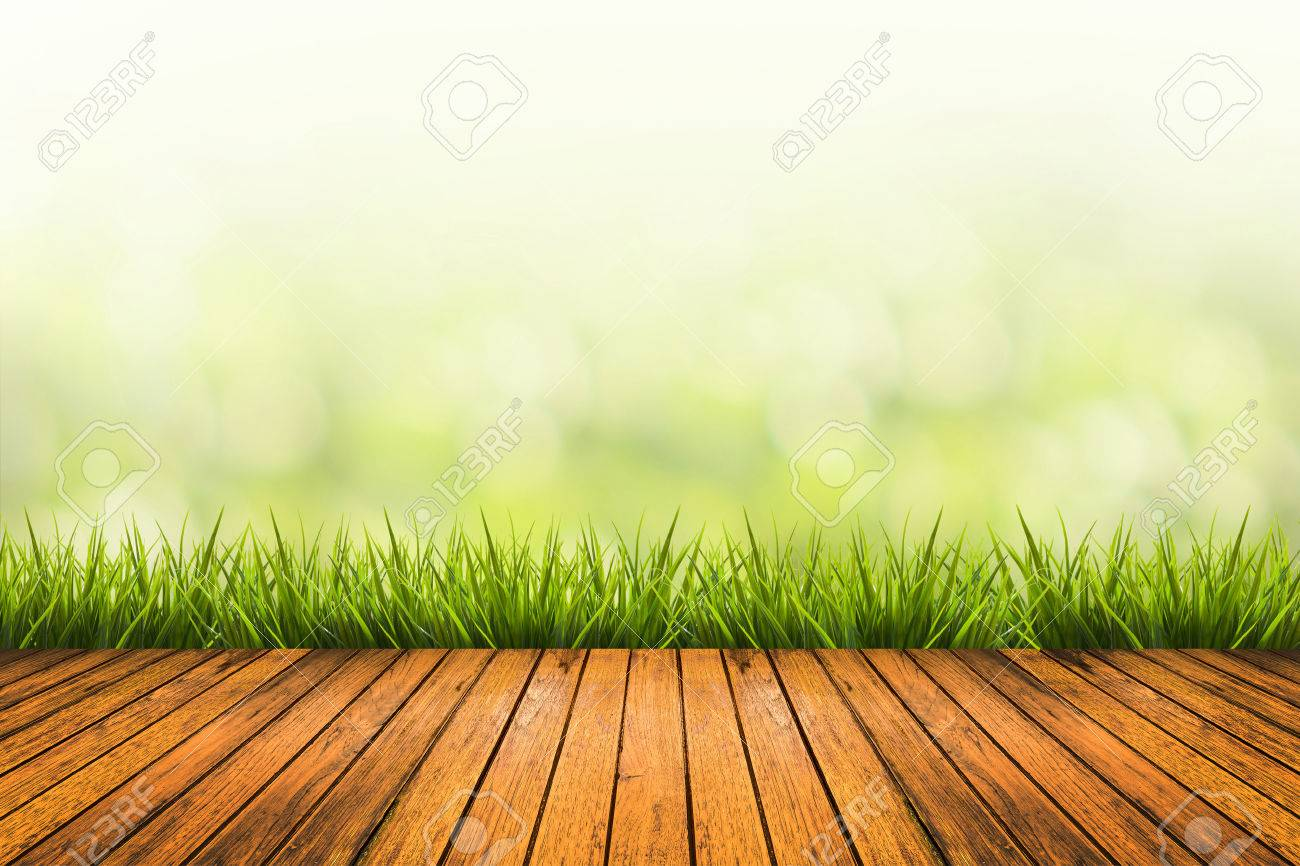 Fresh spring grass with green nature blurred background and wood floor - 40793438
