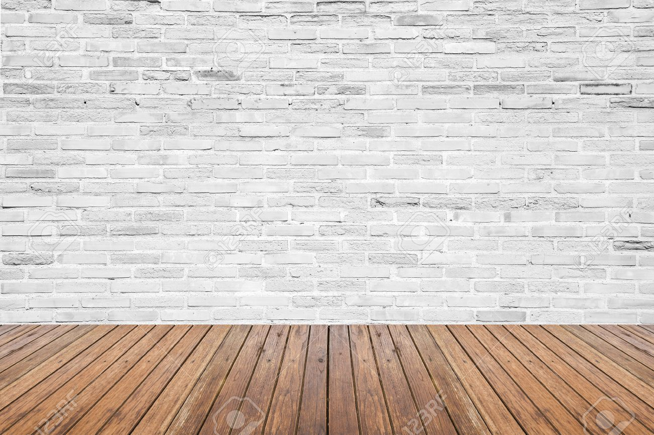 Old interior room with broken white brick wall and grunge wood floor texture - 40968589