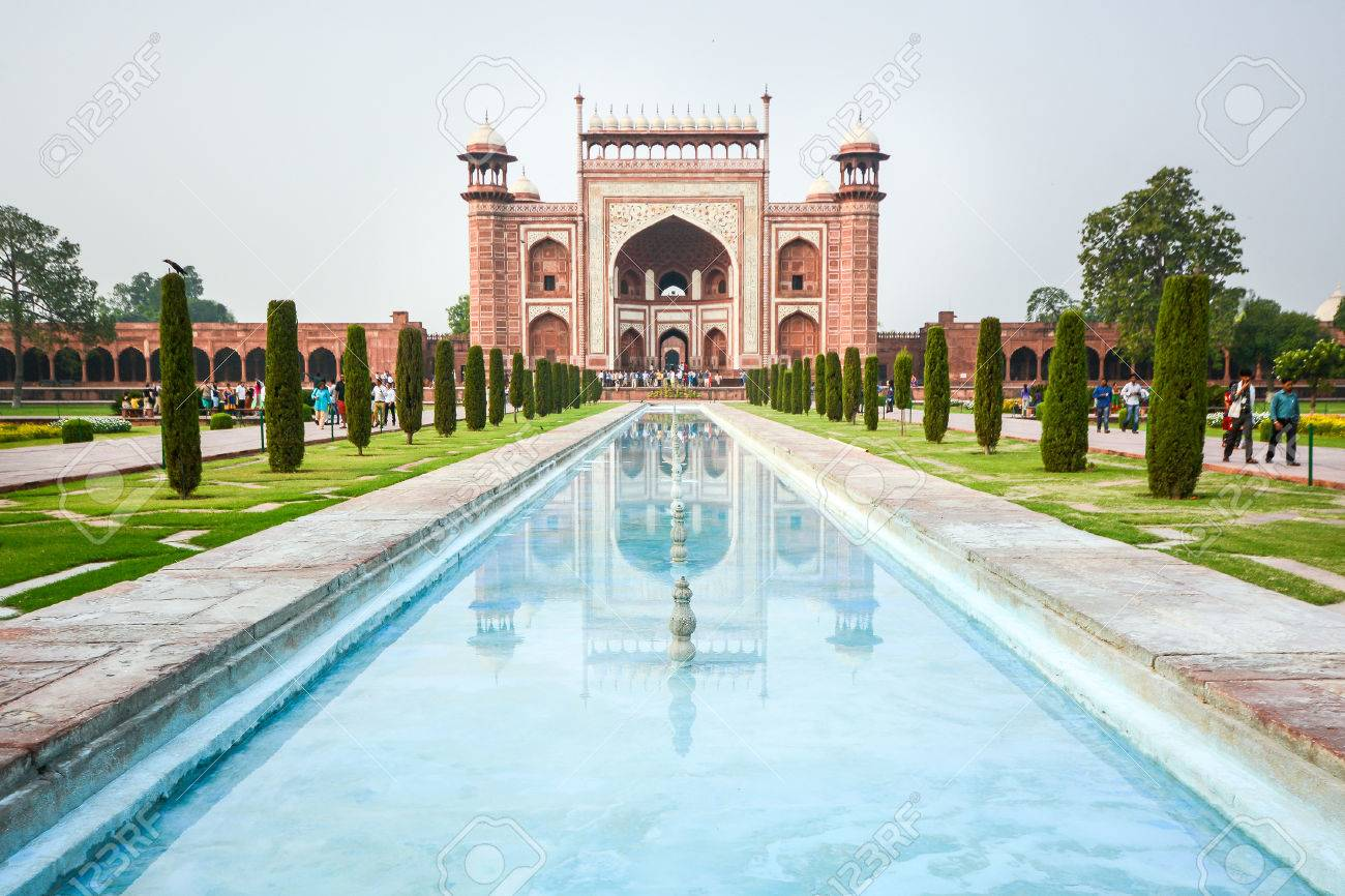 AGRA INDIA JULY 13 2014 : Front gate to Taj Mahal famous historical monument in Agra India. - 41483636