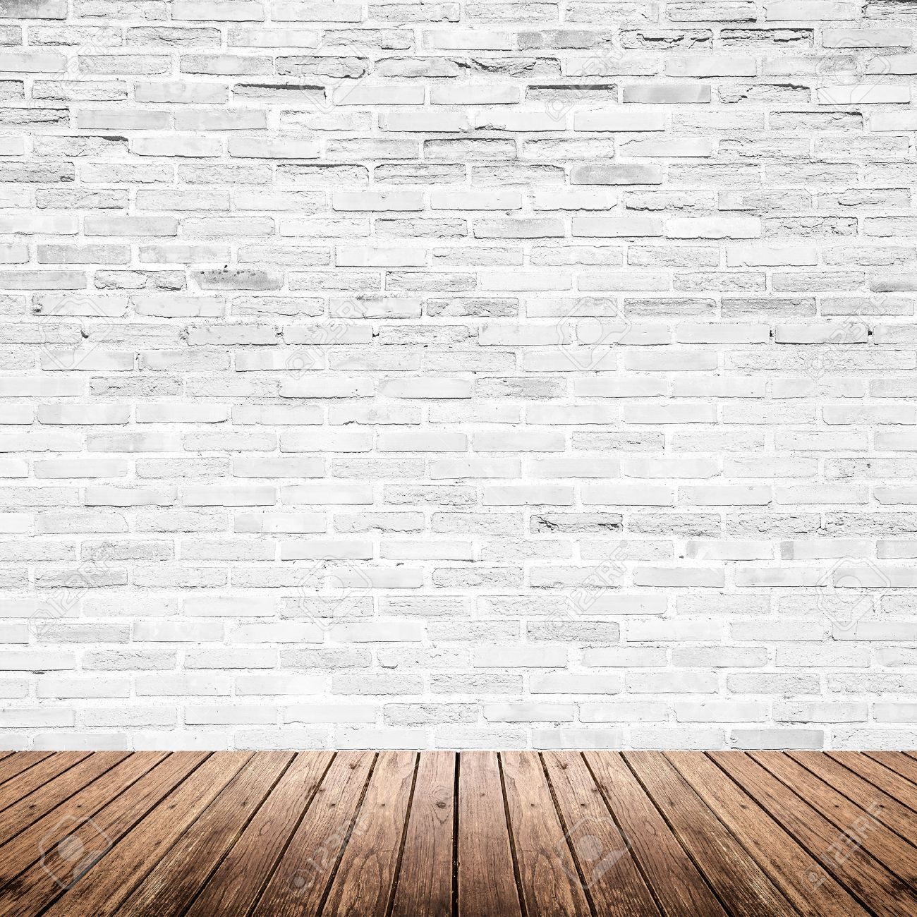 Old Interior Room With Broken White Brick Wall And Grunge Wood Floor  Texture Stock Photo