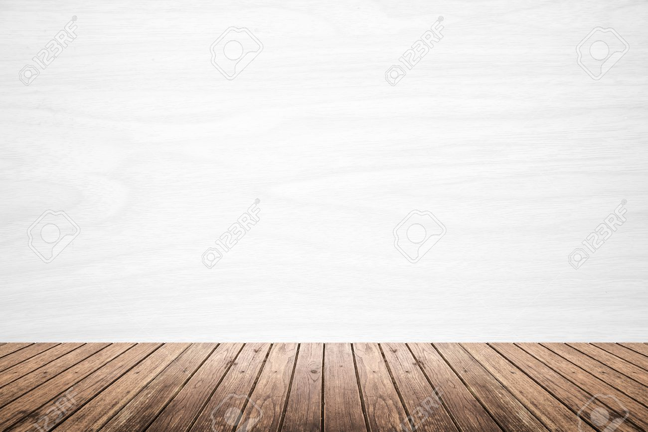 white wood floor background. Empty Room Of White Wood Texture Wall And Brown Wooden Floor. Use For Backdrop Or Floor Background O