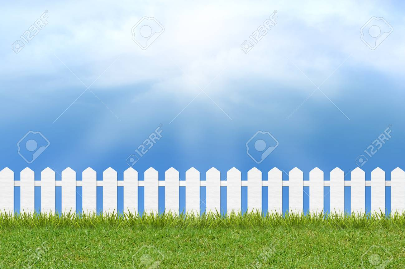 fresh green grass and white wooden fence under blue sky ,clouds and sunlight of summer background - 44975250