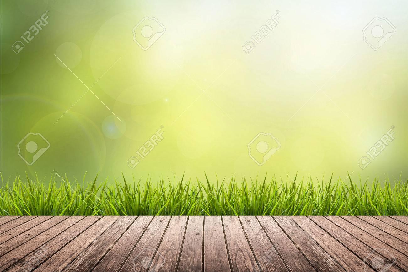 Fresh spring grass with green nature blurred background and wood floor - 44974238