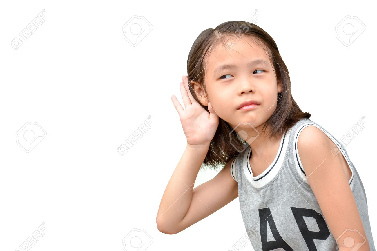 liitle cute girl listening or hearing something, portrait of asian child isolated on white background - 45723891