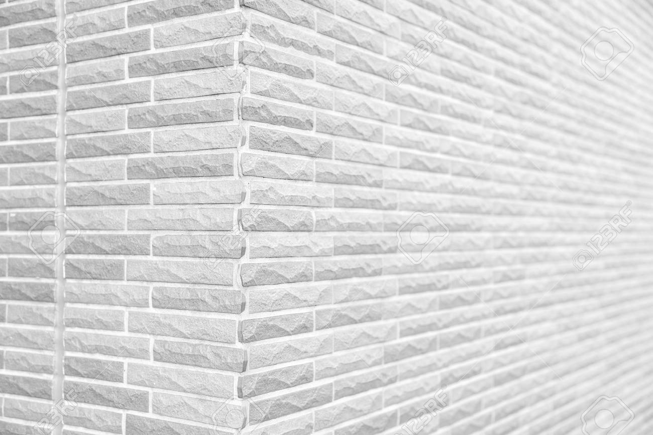 White Grunge Brick Wall Corner Texture Or Pattern For Background